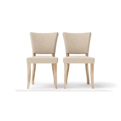 Sofia Set of 2 Dining Chairs French Beige Wire Brushed Solid Beech