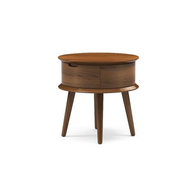 Ethan Round Side Table Chocolate Brown Solid Beech Wood
