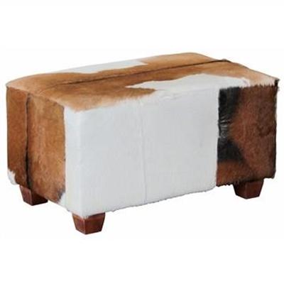 Rhyno Goat Hide Upholstered Mahogany Timber Ottoman - Small