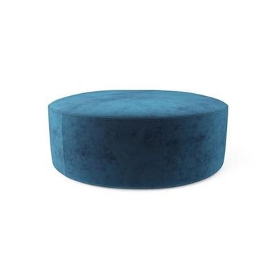 Alexa Large Round Ottoman Ocean Blue