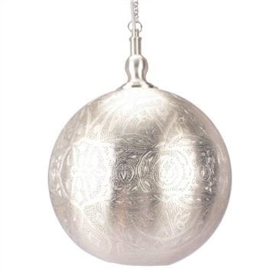 Moroccan Perforated Metal Ball Pendant Light - Large