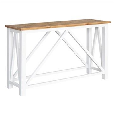 Elliot Parquetry Top Recycled Timber Console Table, 140cm, Natural / White