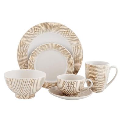 Mystic Stroke Dinner Set Ceramic Beige Claytan