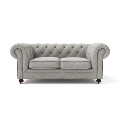 Camden Chesterfield 2 Seater Sofa Stone Grey