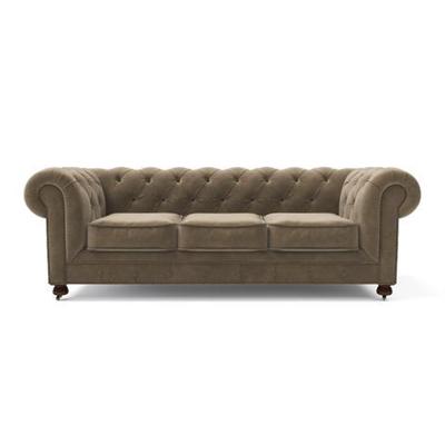 Notting Hill Velvet Chesterfield 3 Seater Sofa Putty Beige