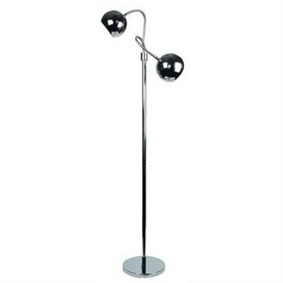 Bobo Twin Flexible Neck Metal Floor Lamp, Chrome