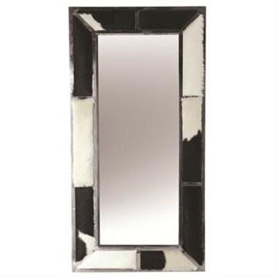Benne Goat Hide Ornamented Metal Frame Wall Mirror