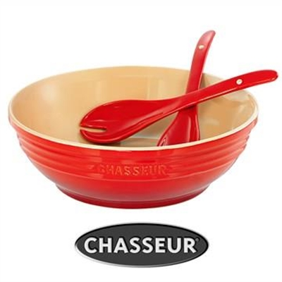Chasseur La Cuisson 30cm Round Bowl with Salad Server Set - Red