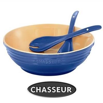 Chasseur La Cuisson 30cm Round Bowl with Salad Server Set - Blue