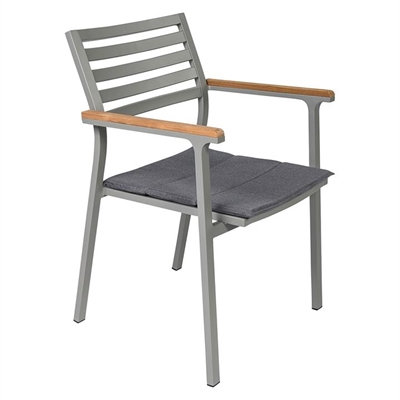 Opper Teak Outdoor Dining Chair Metal Grey Living by Design