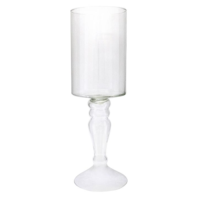 Glass Hurricane Candle Holder with Stem Clear light green Mes Homewares