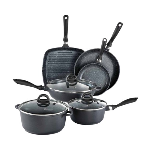 Baccarat Stone Cast Aluminium 6 Piece Cookware Set with Grill Pan