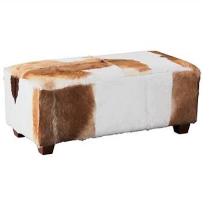 Rhyno Goat Hide Upholstered Mahogany Timber Ottoman - Large