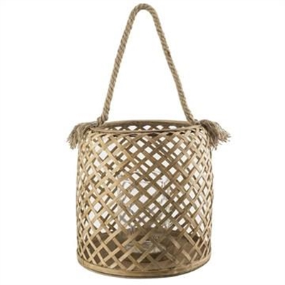 Broughton Bamboo Hurricane Candle Holder with Rope Handle - Large