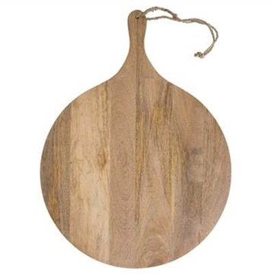 Blayney Solid Mango Wood Timbe Round Serving Board with Handle, Large