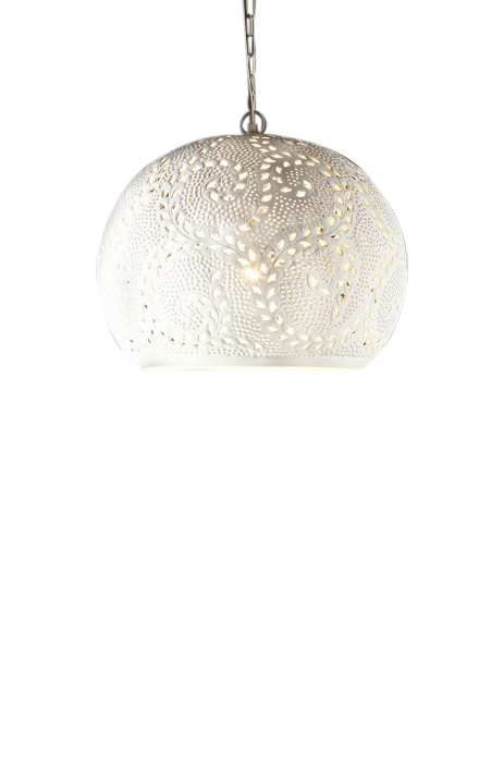 Perforated Round Pendant Light - White