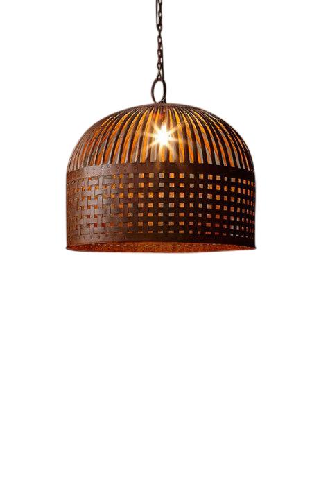 Woven Iron Strips Pendant Light - Rust - Large