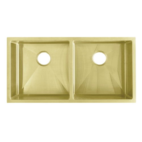 Zalo Double Kitchen Sink 855mm -  Brass