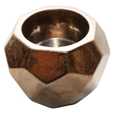 Charmed Pillar Candle Holder Ceramic Burnt Gold Whiskey Boyd Design
