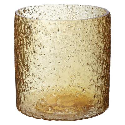Rock Salt Hurricane Candle Holder Glass Majestic Yellow Whiskey Boyd Design