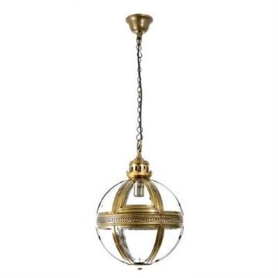 Saxon Small Metal & Glass Pendant Light - Brass