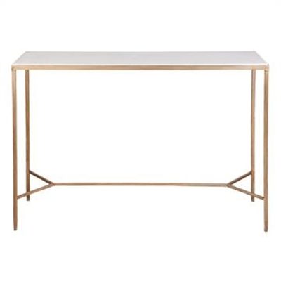 Chloe Stone Top Iron Console Table, 110cm, Antique Gold