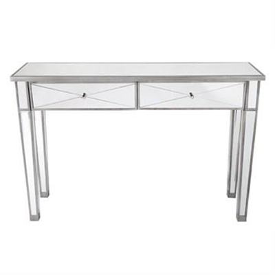 Apolo Mirrored Glass 2 Drawer Console Table, 121cm, Antique Silver