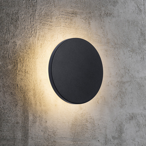 Black Artego Round Exterior Wall Light by Temple & Webster, a Outdoor Lighting for sale on Style Sourcebook