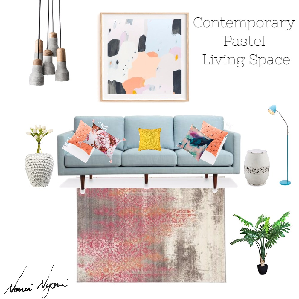 Contemporary Pastel Living Space Mood Board by Nonceba Nyoni on Style Sourcebook