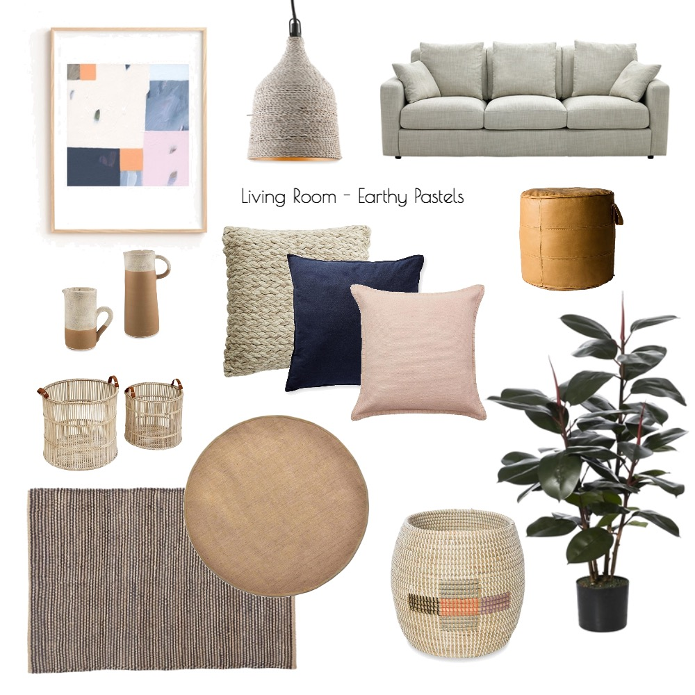 Living Room - earthy pastels Interior Design Mood Board by Nook on Style Sourcebook