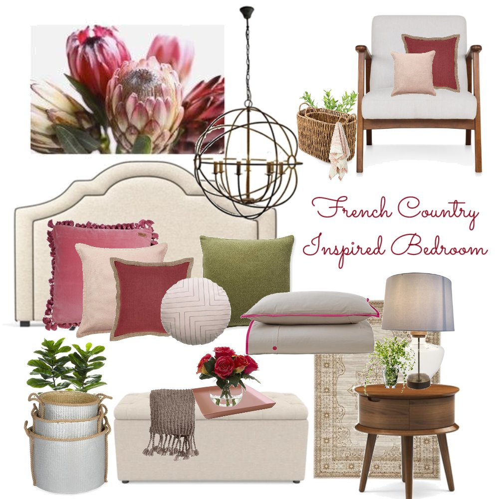 Concept 2 - French Country Inspired Bedroom Interior Design Mood Board by Tara Watson on Style Sourcebook