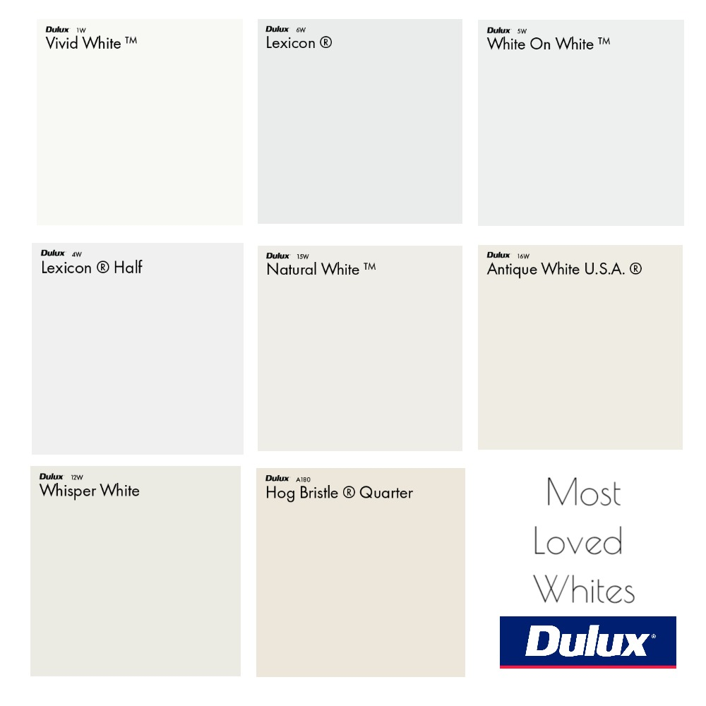 Dulux Most Loved White Colour Palette Interior Design Mood Board by Dulux Australia on Style Sourcebook