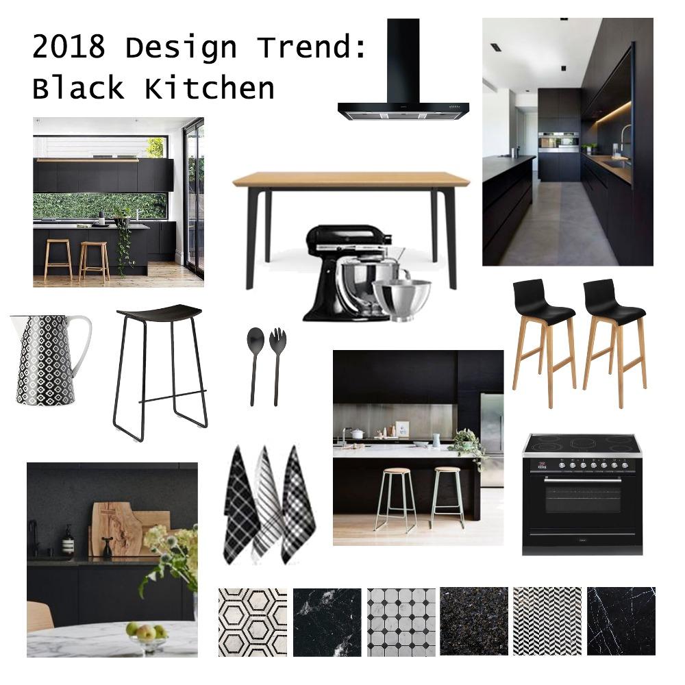 2018 Design Trend: Black Kitchen Interior Design Mood Board by brightsidestyling on Style Sourcebook
