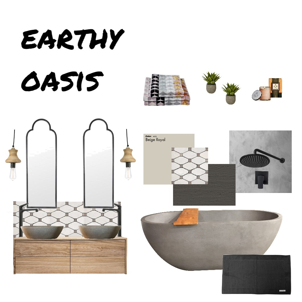 Earthy Oasis Bathroom Interior Design Mood Board by AnnieJornan on Style Sourcebook
