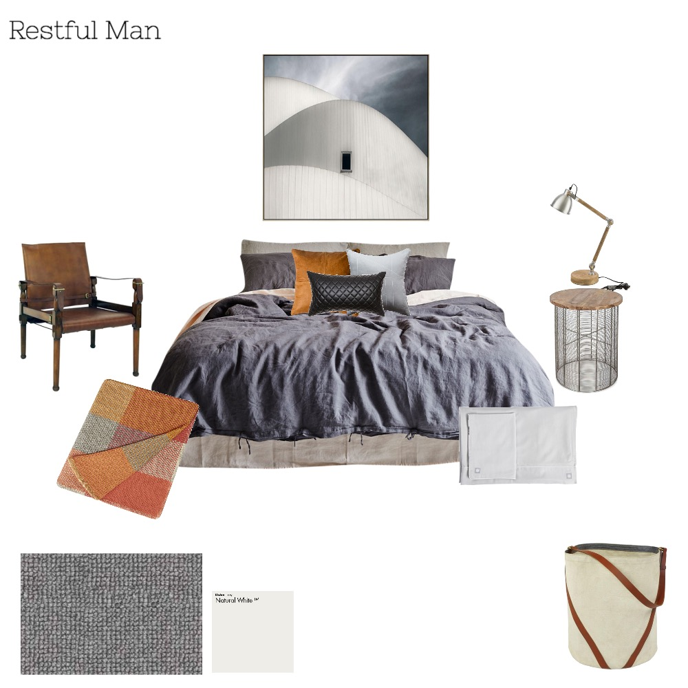 Restful masculine Interior Design Mood Board by Melissa Welsh on Style Sourcebook