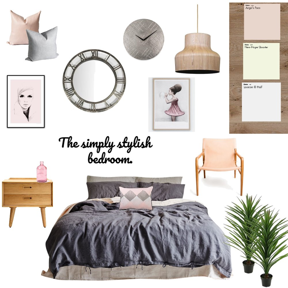 bedroom grey and pink Interior Design Mood Board by anja on Style Sourcebook