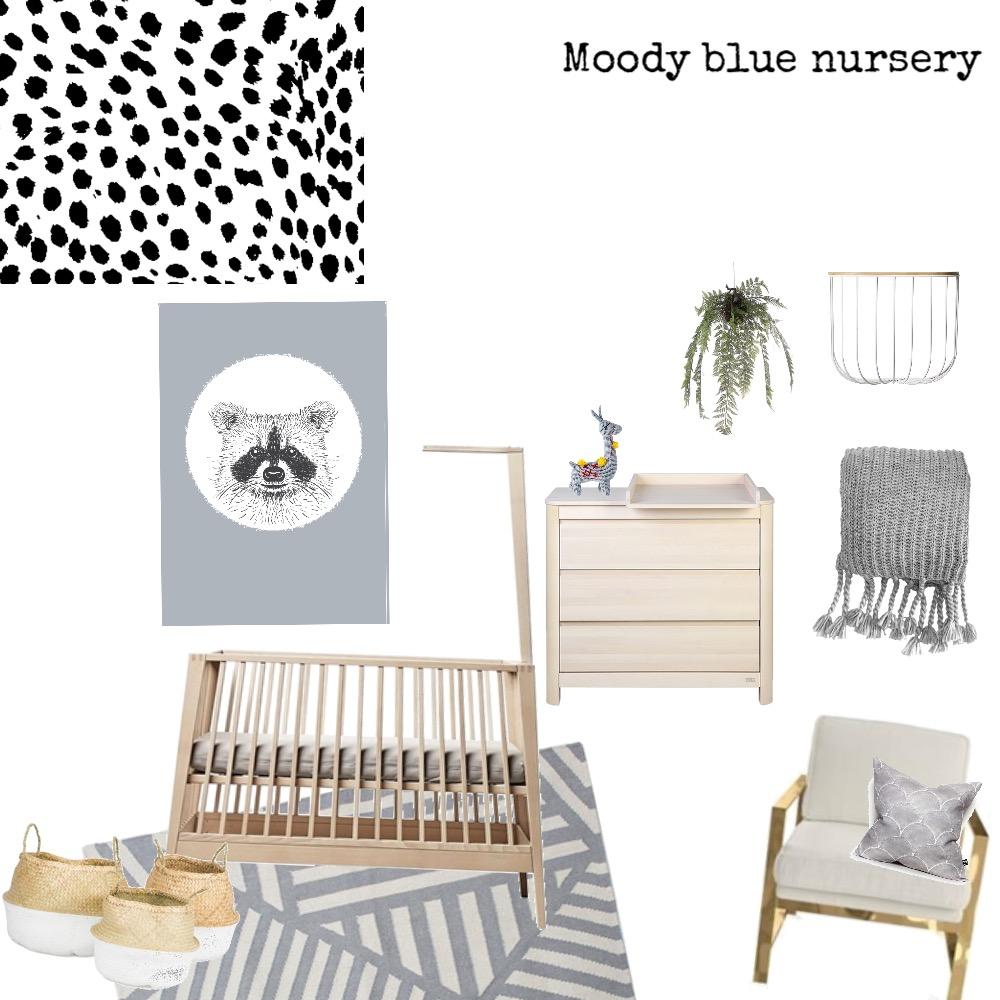 Moody blue nursery Interior Design Mood Board by Chelsea.scott.nz on Style Sourcebook