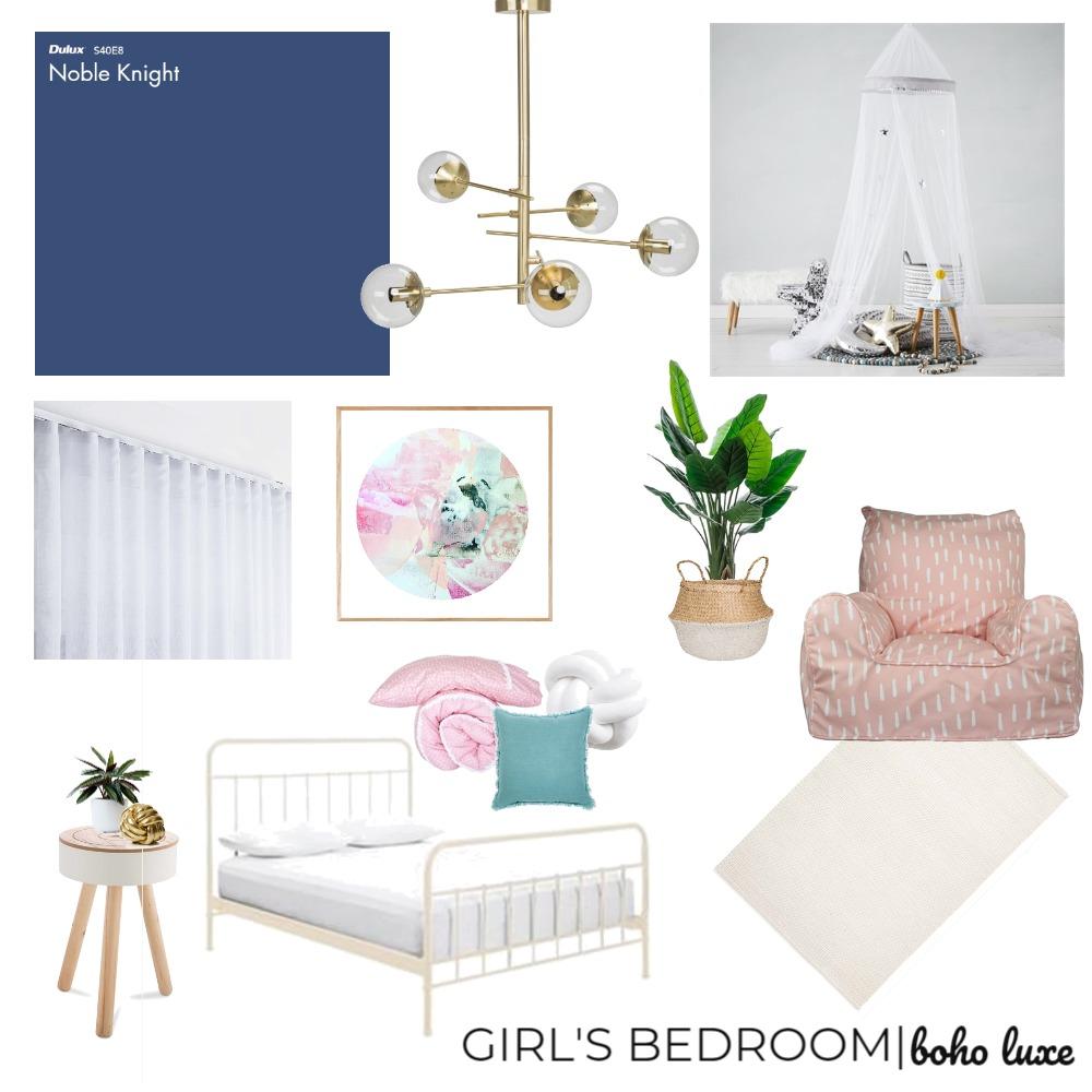 GIRL'S BEDROOM   BOHO LUXE Interior Design Mood Board by mortarandnoir on Style Sourcebook