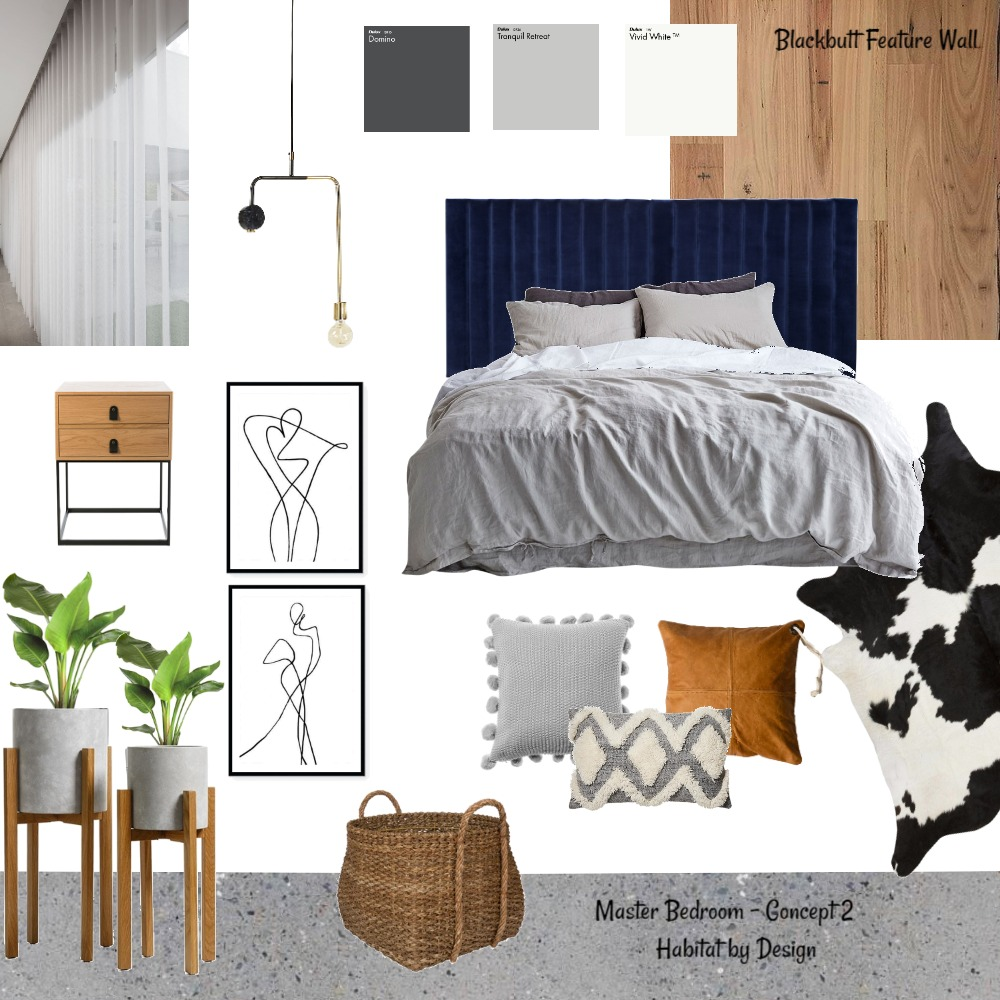Master Bedroom – Concept 2 Interior Design Mood Board by Habitat_by_Design on Style Sourcebook