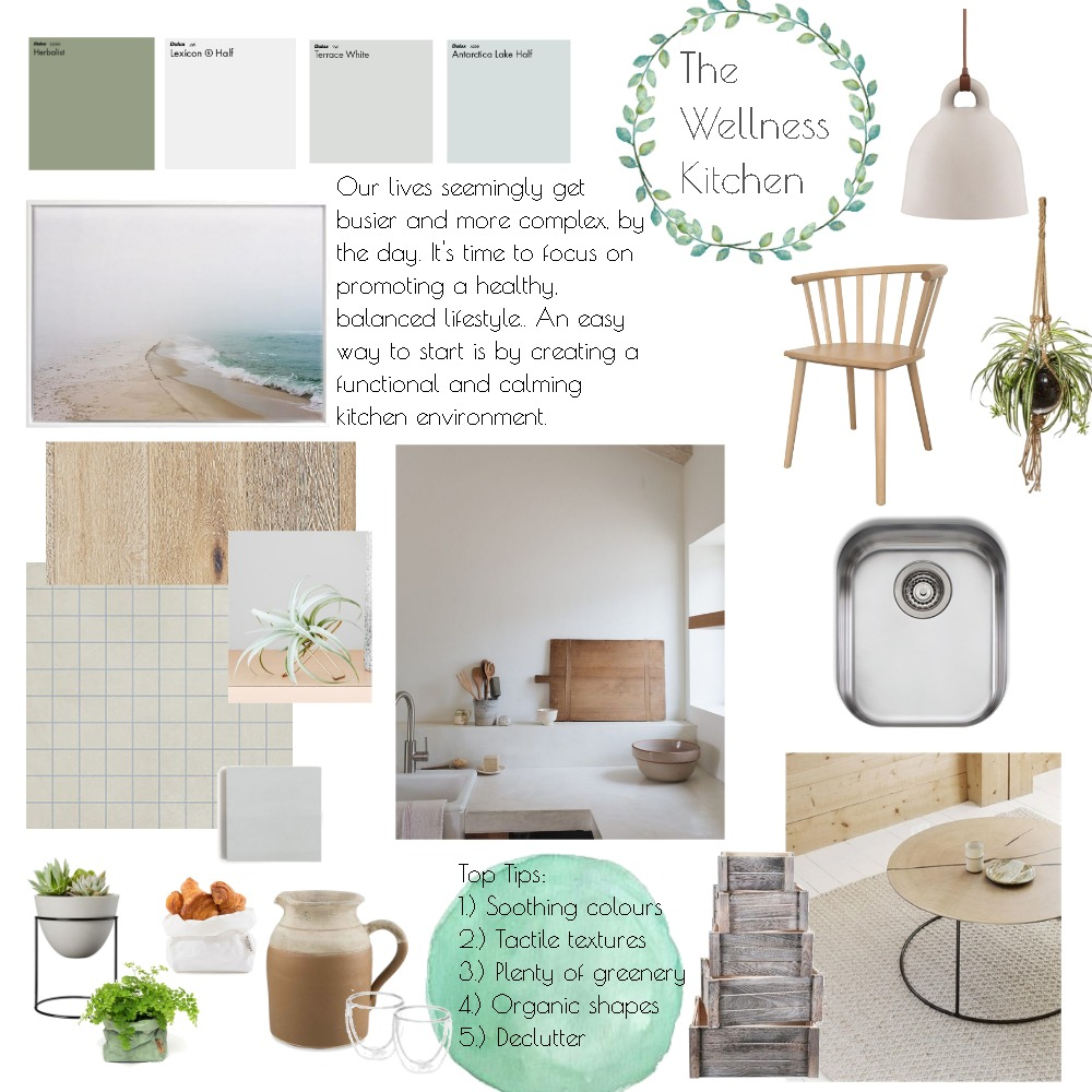 The Wellness Kitchen Interior Design Mood Board by thebohemianstylist on Style Sourcebook