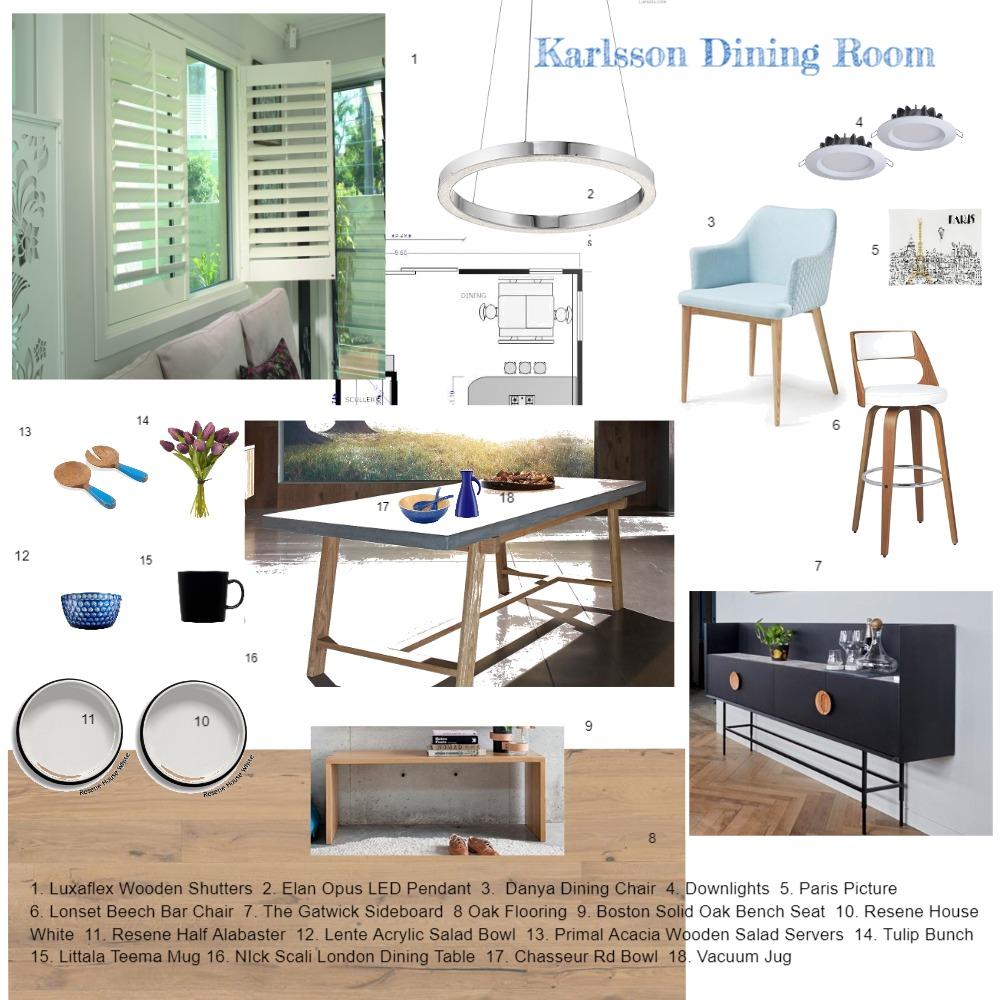 Karlsson Dining Room Sample Board Interior Design Mood Board by Kiwistyler on Style Sourcebook