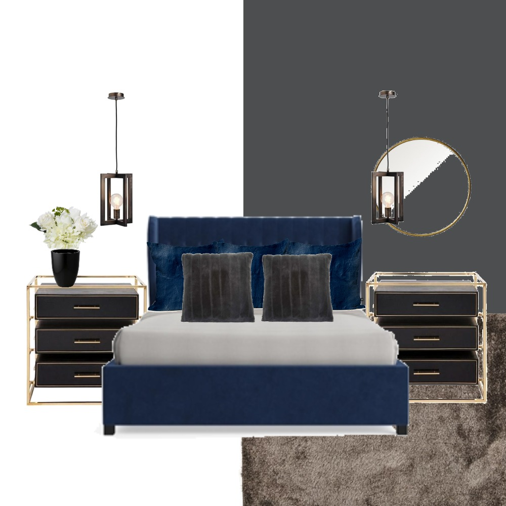 blue bedroom with gold Interior Design Mood Board by evesam on Style Sourcebook