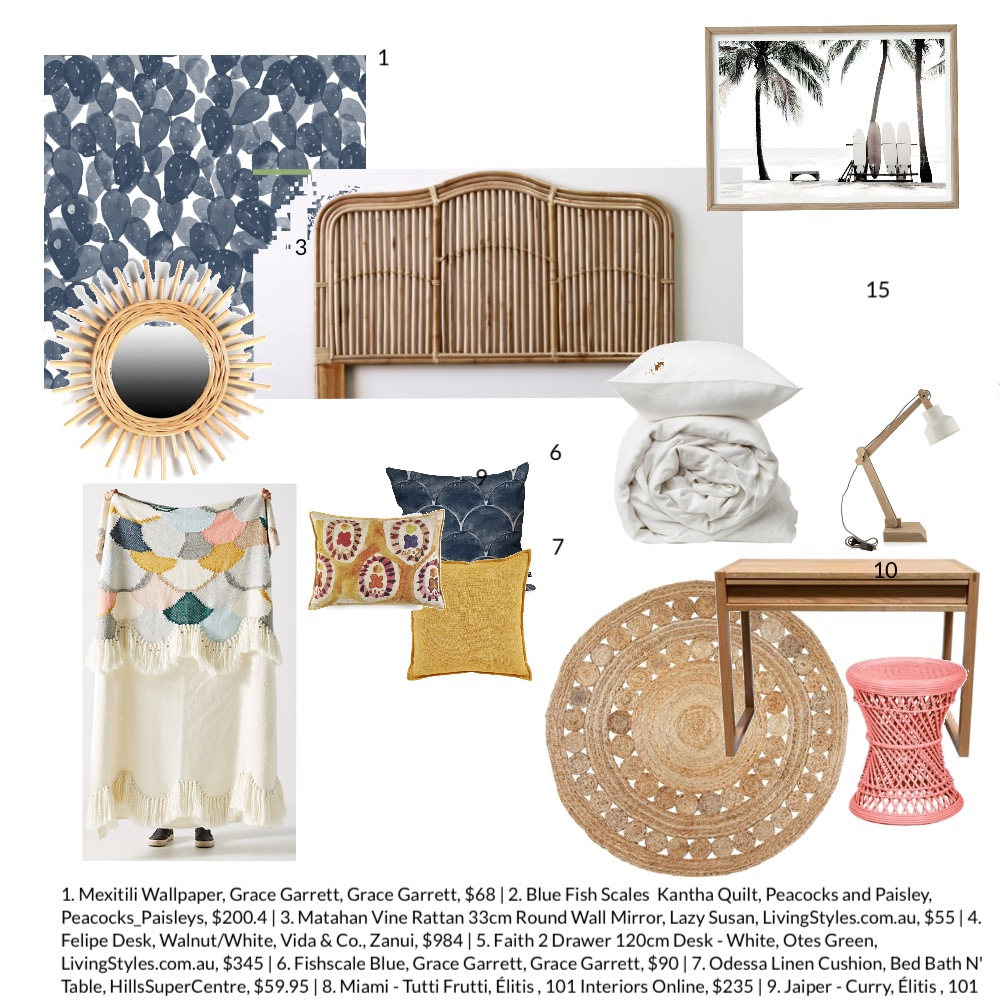 Children's Boho Bedroom Interior Design Mood Board by Thehouseonbeachroad on Style Sourcebook