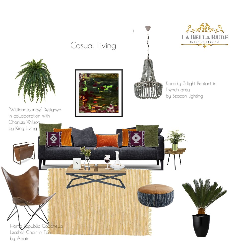 Casual Living Interior Design Mood Board by La Bella Rube Interior Styling on Style Sourcebook