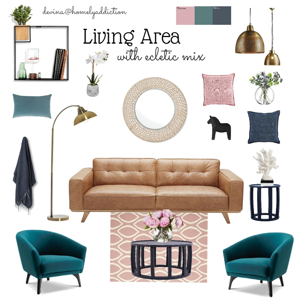 Living Room ecletic Interior Design Mood Board by HomelyAddiction on Style Sourcebook