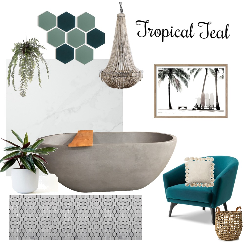 Tropical Teal Interior Design Mood Board by design_by_raichel on Style Sourcebook