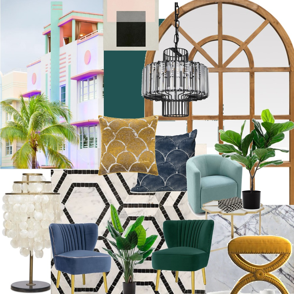 Art Deco Miami Style Interior Design Mood Board by morinb on Style Sourcebook