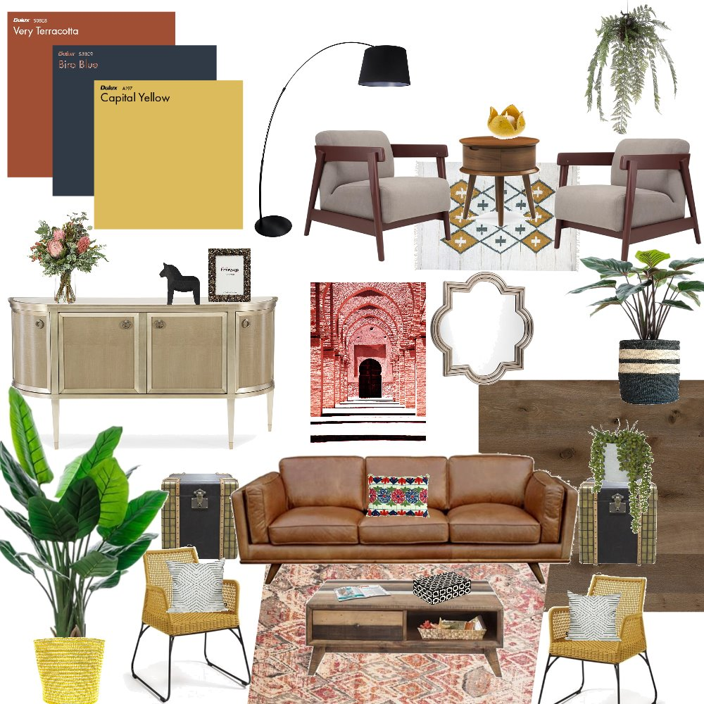 Mid Century Living Room Triadic Interior Design Mood Board by Elements Aligned Interior Design on Style Sourcebook
