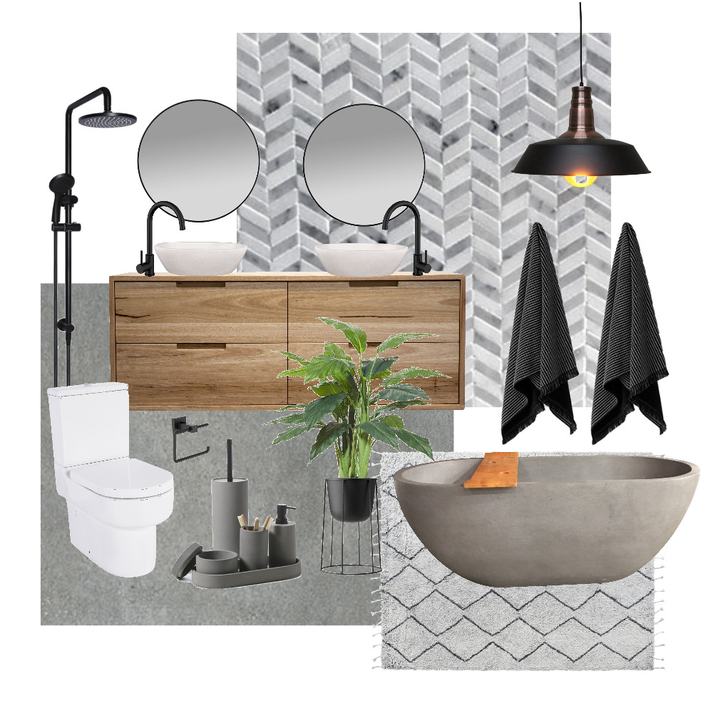 Industrial Bathroom Interior Design Mood Board by Hayleymichelle on Style Sourcebook