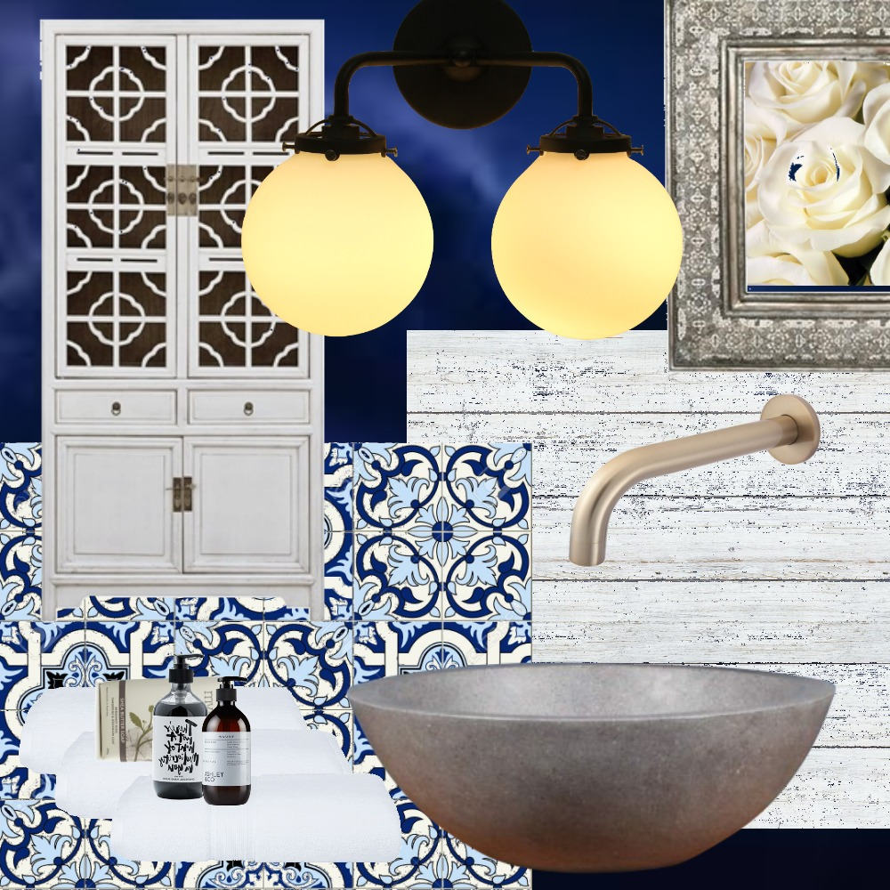Moody Blue Bathroom Interior Design Mood Board by PaigeS on Style Sourcebook